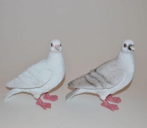 Levensechte duiven als set